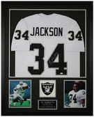 Bo Jackson Autographed and Framed White Raiders Jersey Auto JSA Cert