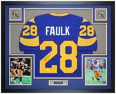 Marshall Faulk Autographed and Framed Blue St Louis Rams Jersey JSA COA