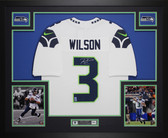 Russell Wilson Autographed and Framed White Seahawks Jersey Auto Wilson COA