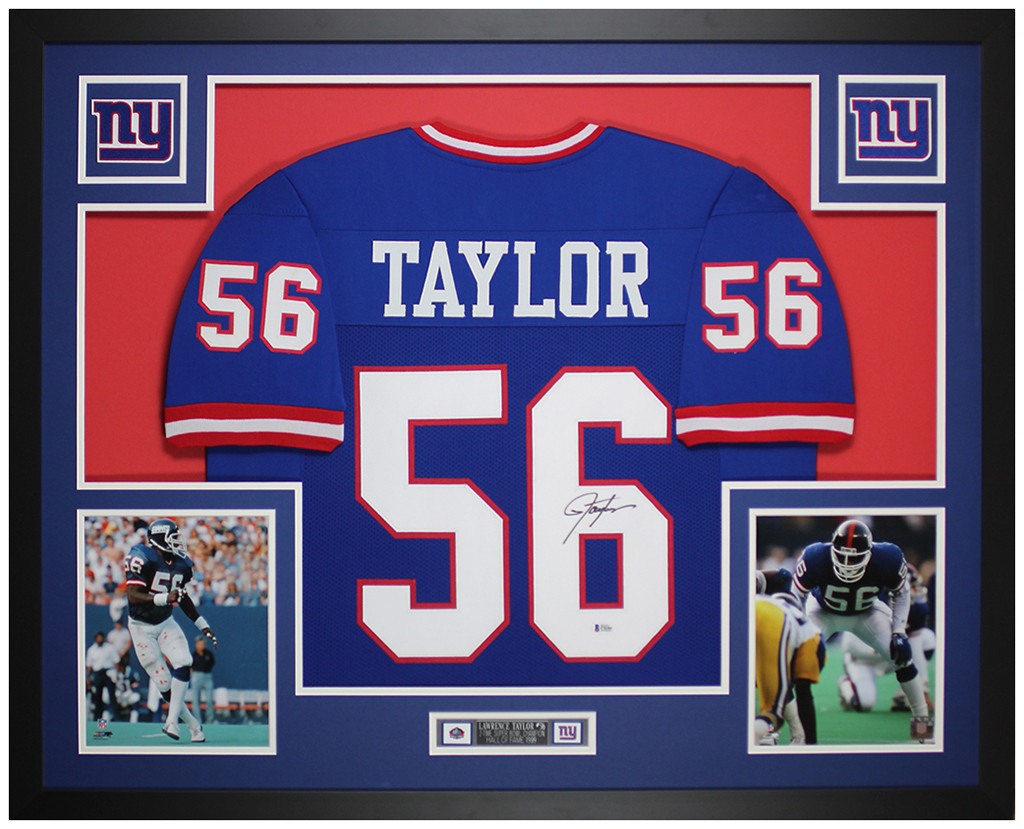 Lawrence Taylor Autographed and Framed New York Giants Jersey