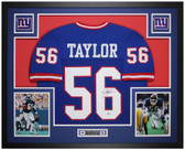 Lawrence Taylor Autographed and Framed Blue Giants Jersey Auto Beckett COA