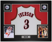 Allen Iverson Autographed & Framed White 76ers Jersey Auto PSA COA