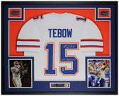 Tim Tebow Autographed & Framed White Florida Gators Jersey PBA COA