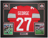 Eddie George Autographed and Framed Red Ohio State Jersey JSA COA