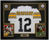 Terry Bradshaw Autographed & Framed White Steelers Jersey Auto Beckett COA
