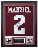 Johnny Manziel Autographed and Framed Maroon A&M Jersey Auto PSA COA