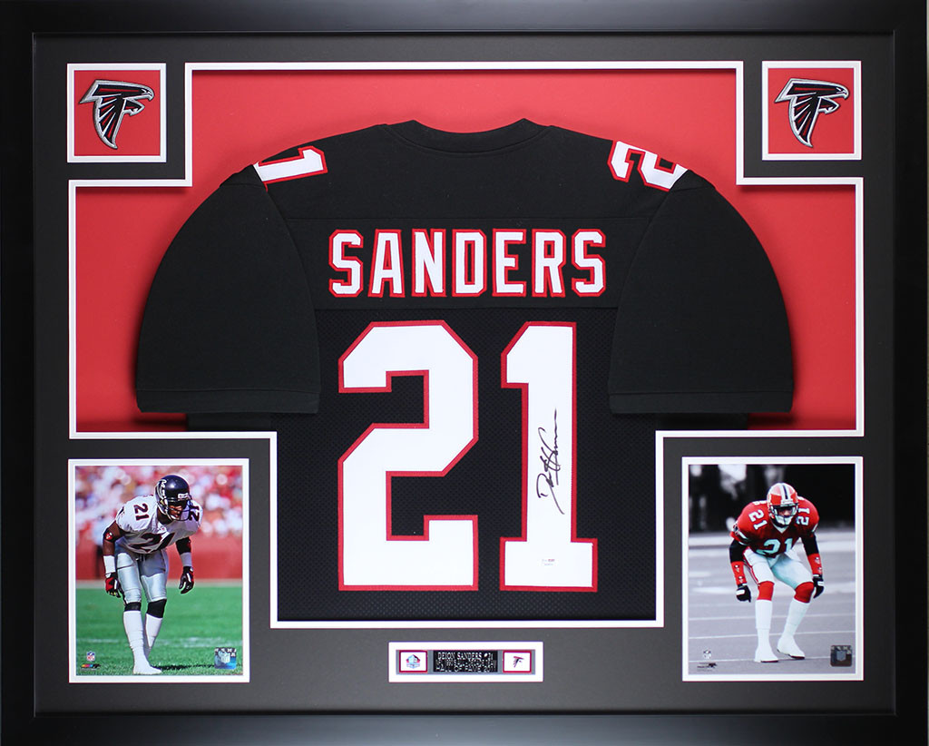low priced 85207 543f8 Deion Sanders Autographed and Framed Black Falcons Jersey