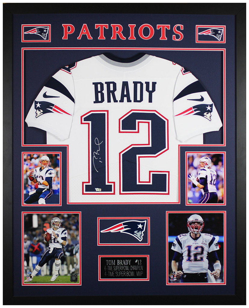 Tom Brady Autographed and Framed New England Patriots Jersey