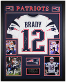 Tom Brady Autographed & Framed White Patriots Jersey Auto Fanatics Cert