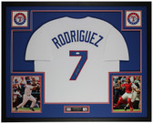 Ivan Pudge Rodriguez Autographed & Framed White Rangers Jersey JSA COA