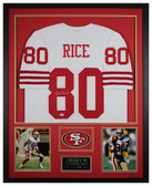 Jerry Rice Autographed and Framed White 49ers Jersey Auto Beckett COA