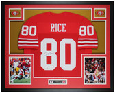 Jerry Rice Autographed & Framed Red 49ers Jersey Auto Beckett Certified
