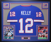 Jim Kelly Autographed and Framed Blue Buffalo Bills Jersey Auto JSA Certfied