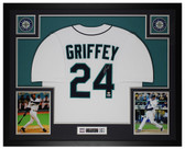 Ken Griffey Jr Autographed and Framed White Mariners Jersey Beckett COA