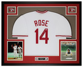 Pete Rose Autographed and Framed White Reds Jersey PSA COA