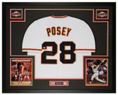 Buster Posey Autographed and Framed White Giants Jersey Beckett COA