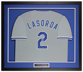 Tommy Lasorda Autographed and Framed Gray Dodgers Jersey Beckett COA