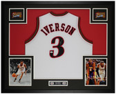 Allen Iverson Autographed and Framed White 76ers Jersey Auto JSA COA