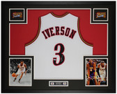 Allen Iverson Autographed and Framed White 76ers Jersey Auto PSA Cert