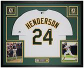 Rickey Henderson Autographed & Framed White A's Jersey Auto JSA Cert