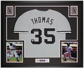 Frank Thomas Autographed & Framed Gray White Sox Jersey Auto JSA Cert