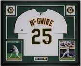Mark McGwire Autographed & Framed White Oakland A's Jersey Auto JSA Cert