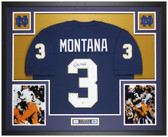 Joe Montana Autographed & Framed Blue Notre Dame Jersey Auto Beckett Cert