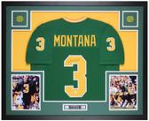 Joe Montana Autographed & Framed Green Notre Dame Jersey Auto Beckett Cert