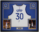 Steph Curry Autographed and Framed White Warriors Jersey Auto Fanatics Cert