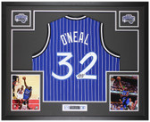 Shaquille O'Neal Autographed and Framed Pinstriped Magic Jersey Auto Beckett Cert
