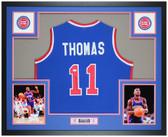 Isiah Thomas Autographed & Framed Blue Pistons Jersey Auto JSA Cert