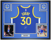 Steph Curry Autographed and Framed Blue Warriors Jersey Auto Fanatics Cert