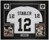 Ken Stabler Autographed & Framed White Raiders Jersey Auto Radtke Cert