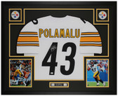 Troy Polamalu Autographed & Framed White Steelers Jersey Auto Beckett Cert