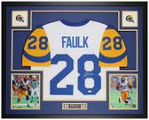 Marshall Faulk Autographed & Framed White Rams Jersey Auto JSA Cert