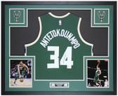 Giannis Antetokounmpo Autographed & Framed Green Milwaukee Bucks Jersey Auto Beckett Cert