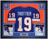 Bryan Trottier Autographed & Framed Blue Islanders Jersey Auto JSA COA