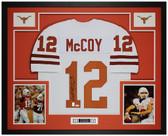 Colt McCoy Autographed & Framed White Longhorns Jersey Auto JSA COA