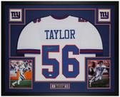 Lawrence Taylor Autographed & Framed White Giants Jersey Auto JSA COA