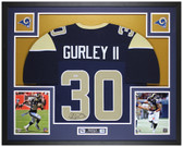 Todd Gurley Autographed & Framed Blue Rams Jersey Auto PSA COA