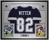 Jason Witten Autographed & Framed Blue Cowboys Jersey Auto Beckett COA