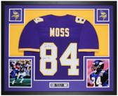 Randy Moss Autographed HOF 18 & Framed Purple Vikings Jersey Auto Beckett COA