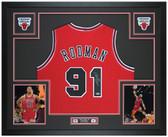 Dennis Rodman Autographed & Framed Red Chicago Bulls Jersey Auto Beckett Cert