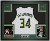 Giannis Antetokounmpo Autographed and Framed White Bucks Jersey Auto Beckett Cert