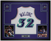 Karl Malone Autographed & Framed White Utah Jazz Jersey Auto Beckett Cert