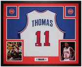 Isiah Thomas Autographed & Framed White Detroit Pistons Jersey Auto JSA Cert