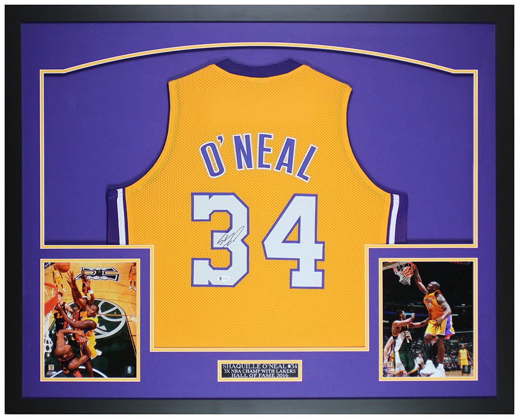 Shaquille O'Neal Autographed and Framed Los Angeles Lakers Jersey