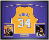 Shaquille O'Neal Autographed & Framed Yellow Los Angeles Lakers Jersey Auto Beckett COA