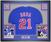 Sammy Sosa Autographed & Framed Blue Cubs Jersey Auto JSA COA