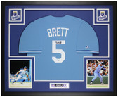 George Brett Autographed and Framed Blue Royals Jersey Auto Beckett COA
